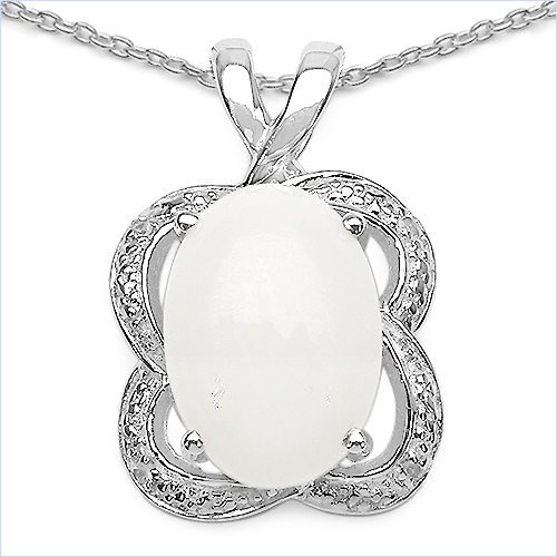 5.65CTW Opal & White Topaz .925 Sterling Silver Pendant