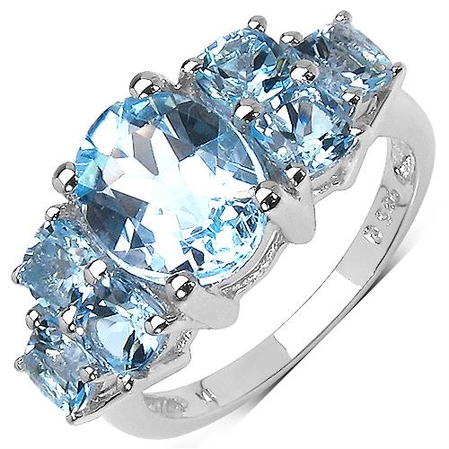 5.65CTW Genuine Blue Topaz .925 Sterling Silver Ring