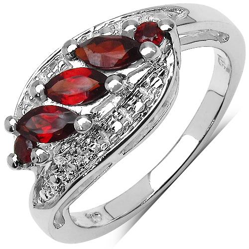 0.78CTW Natural Garnet .925 Sterling Silver Ring