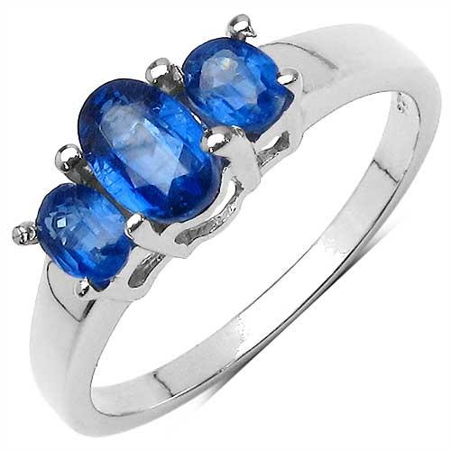 1.25CTW Genuine Kyanite & White Diamond .925 Sterling Silver Ring