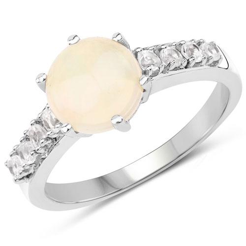 1.09CTW Ethiopian Opal & White Topaz .925 Sterling Silver Ring