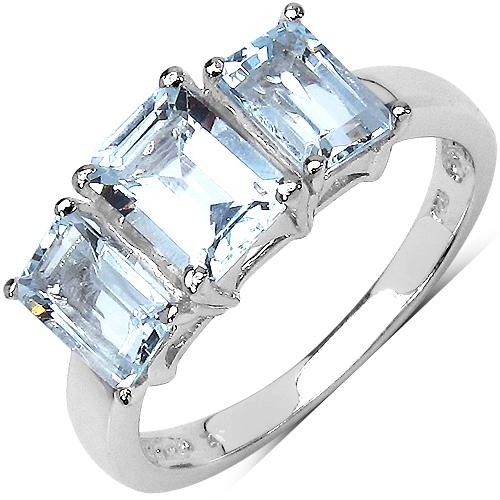 1.80CTW Genuine Aquamarine 3-Octagon .925 Sterling Silver Ring