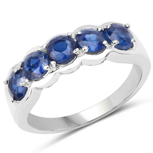 1.90CTW Genuine Kyanite .925 Sterling Silver 5 Stone Ring
