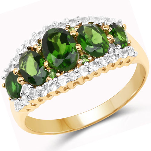 2.70CTW Genuine Chrome Diopside & White Topaz 18K Yellow Gold Plated .925 Sterling Silver 5 Stone Ring