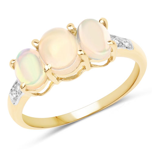 1.85CTW Genuine Ethiopian Opal & White Topaz 14K Yellow Gold Plated .925 Sterling Silver 3 Stone Ring