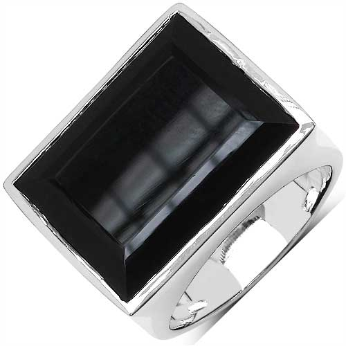 9.86CTW Black Onyx .925 Sterling Silver Ring