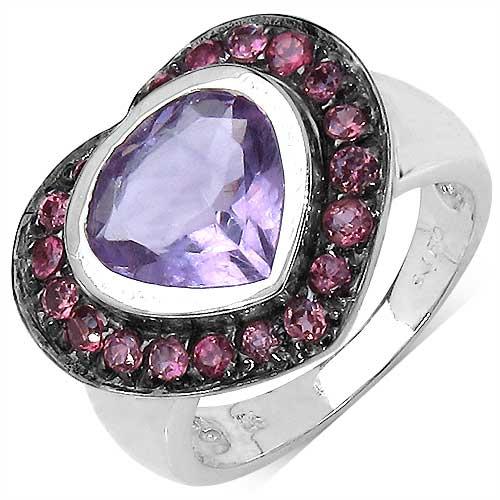 4.00CTW Genuine Amethyst & Rhodolite .925 Sterling Silver Ring