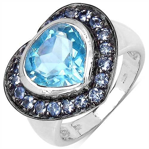 4.10CTW Genuine Blue Topaz & Tanzanite .925 Sterling Silver Ring