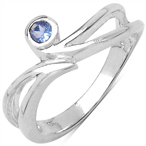 0.10CTW Genuine Tanzanite .925 Sterling Silver Ring