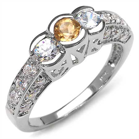 1.56CTW Genuine Citrine & White Cubic Zircon .925 Sterling Silver Ring