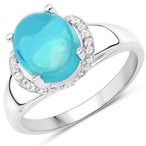 1.84CTW Dyed Pariba Opal & White Topaz .925 Sterling Silver Ring