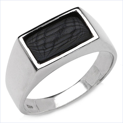 2.17CTW Black Onyx .925 Sterling Silver Ring
