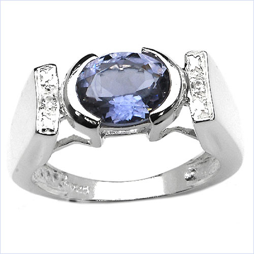 1.42CTW Genuine Iolite & White Topaz .925 Sterling Silver Ring