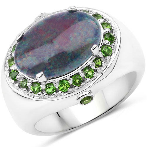 4.40CTW Opal Triplet & Chrome Diopside .925 Sterling Silver Ring