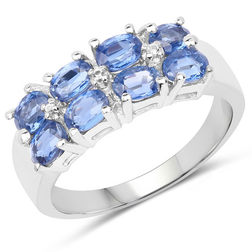 2.19CTW Genuine Kyanite & White Topaz .925 Sterling Silver Ring