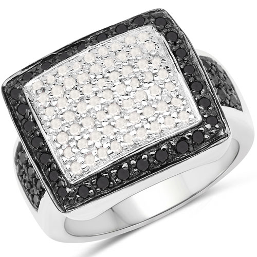 0.61CTW Genuine Black Diamond & White Diamond .925 Sterling Silver Cluster Ring