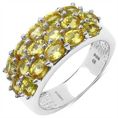 4.00CTW Genuine Yellow Sapphire .925 Sterling Silver Ring