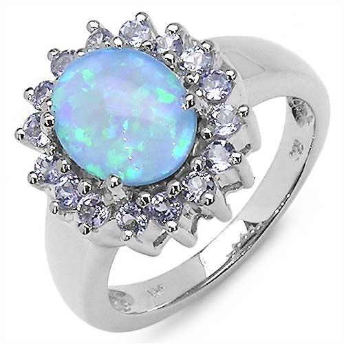 2.55CTW Genuine Opal(Blue Triplet) & Tanzanite .925 Sterling Silver Ring