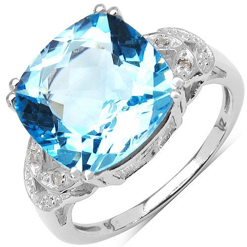 8.43CTW Genuine Blue Topaz & White Diamond .925 Sterling Silver Solitaire Ring