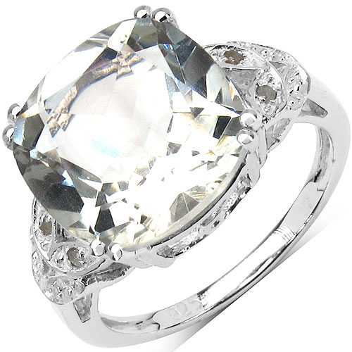 6.32CTW Genuine Green Amethyst & White Diamond .925 Sterling Silver Solitaire Ring
