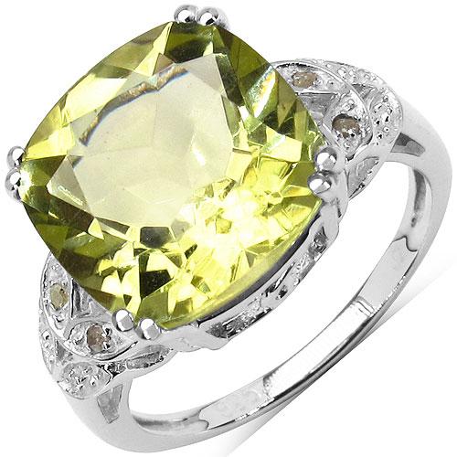 6.51CTW Genuine Lemon Topaz & White Diamond .925 Sterling Silver Solitaire Ring