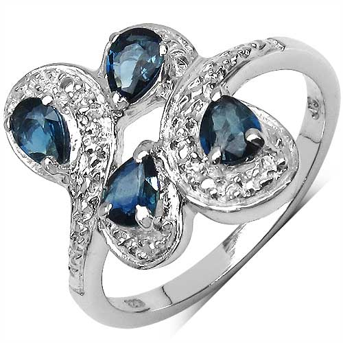 0.80CTW Genuine Blue Sapphire .925 Sterling Silver Ring
