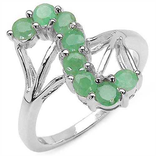 0.80CTW Genuine Emerald .925 Sterling Silver Ring
