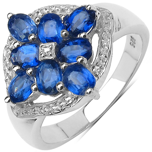 2.17CTW Genuine Kyanite & White Diamond .925 Sterling Silver Ring