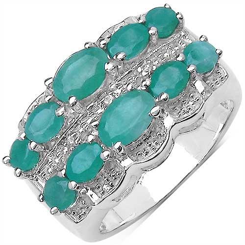 2.14CTW Genuine Emerald & White Topaz .925 Sterling Silver Ring