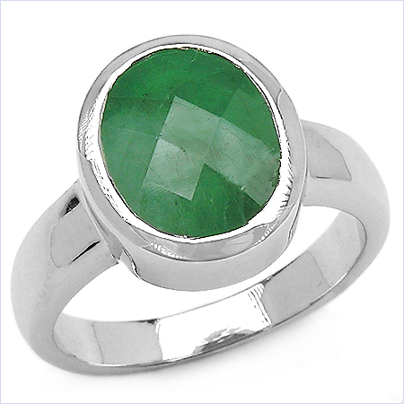 3.20CTW Genuine Emerald .925 Sterling Silver Ring