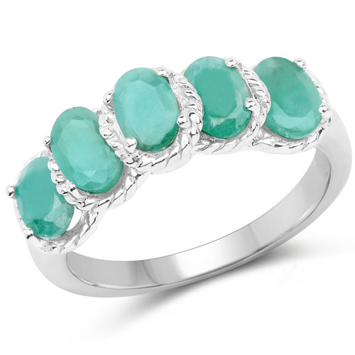 2.20CTW Genuine Emerald .925 Sterling Silver 5 Stone Ring