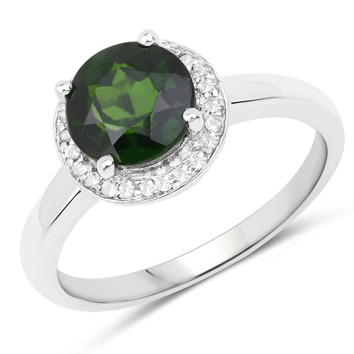 1.92CTW Genuine Chrome Diopside & White Topaz .925 Sterling Silver Cocktail Ring