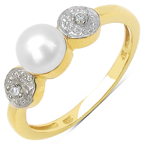 1.31CTW White Pearl & Cubic Zirconia .925 Sterling Silver Ring