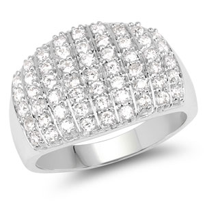 BridalMe 1.65CTW White Cubic Zirconia .925 Sterling Silver Cluster Ring