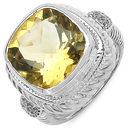 7.44CTW Citrine & White Topaz .925 Sterling Silver Ring
