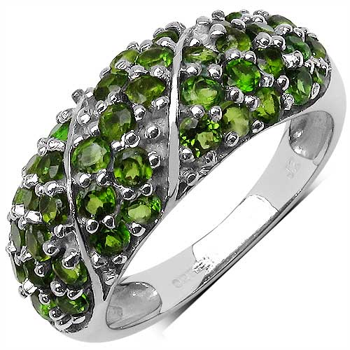 1.69CTW Genuine Chrome Diopside .925 Sterling Silver Ring
