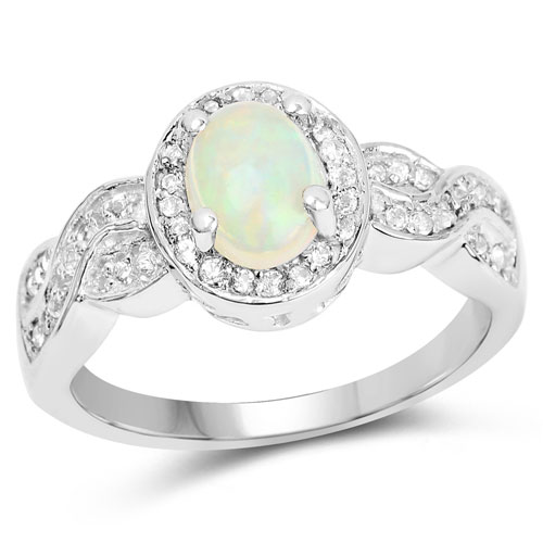 0.72CTW Genuine Ethiopian Opal & White Topaz .925 Sterling Silver Cocktail Ring