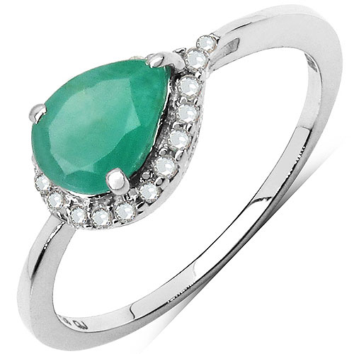0.98CTW Genuine Emerald & White Diamond .925 Sterling Silver Solitaire Ring