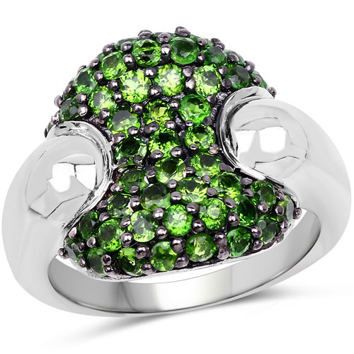 1.82CTW Genuine Chrome Diopside .925 Sterling Silver Cluster Ring