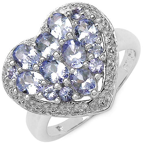 1.54CTW Genuine Tanzanite .925 Sterling Silver Heart Shape Ring