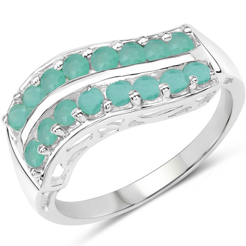 0.80CTW Genuine Emerald .925 Sterling Silver Cluster Ring