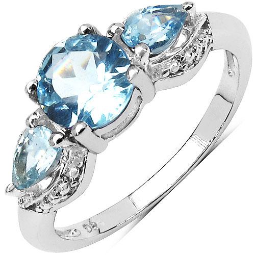 1.60CTW Genuine Blue Topaz .925 Sterling Silver 3 Stone Ring