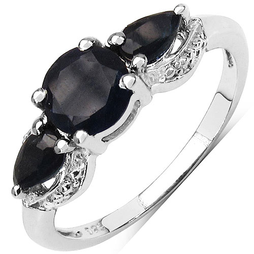 1.60CTW Genuine Sapphire .925 Sterling Silver 3 Stone Ring