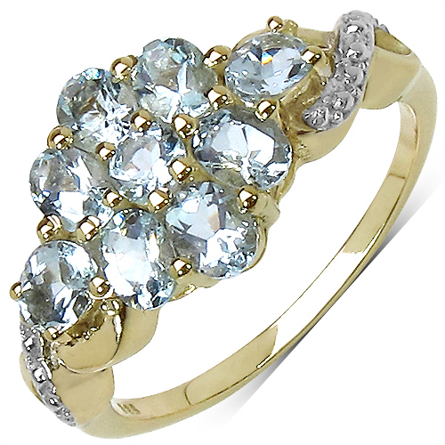 1.54CTW Genuine Aquamarine 14K Yellow Gold Plated .925 Sterling Silver Ring