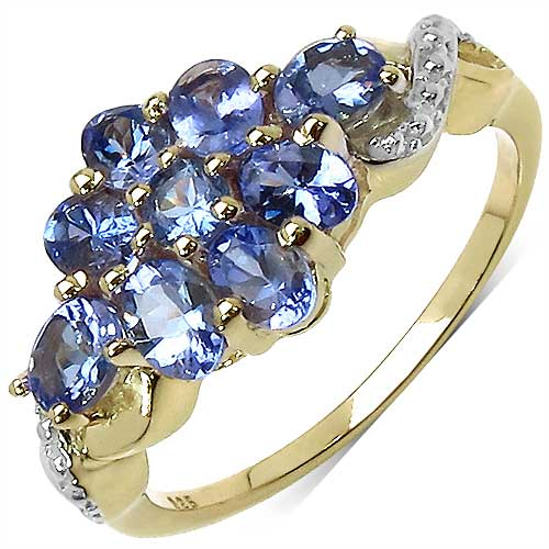1.38CTW Genuine Tanzanite 14K Yellow Gold Plated .925 Sterling Silver Ring