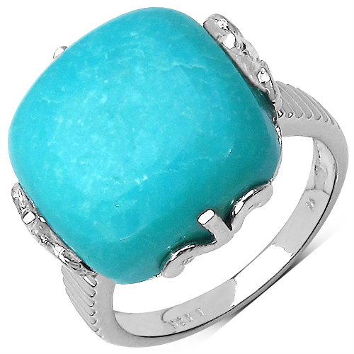 15.35CTW Genuine Turquoise .925 Sterling Silver Ring