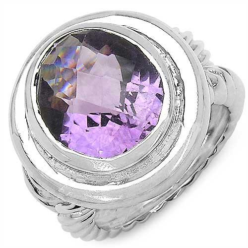 6.92CTW Genuine Amethyst .925 Sterling Silver Ring