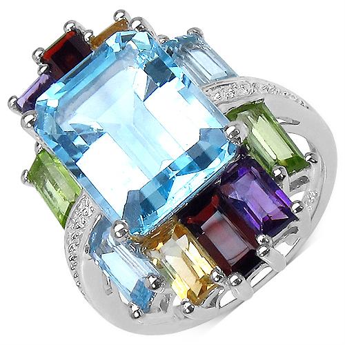 11.00CTW Genuine Multigemstone .925 Sterling Silver Ring