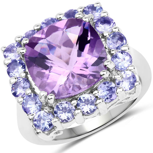 6.63CTW Amethyst & Tanzanite .925 Sterling Silver Ring
