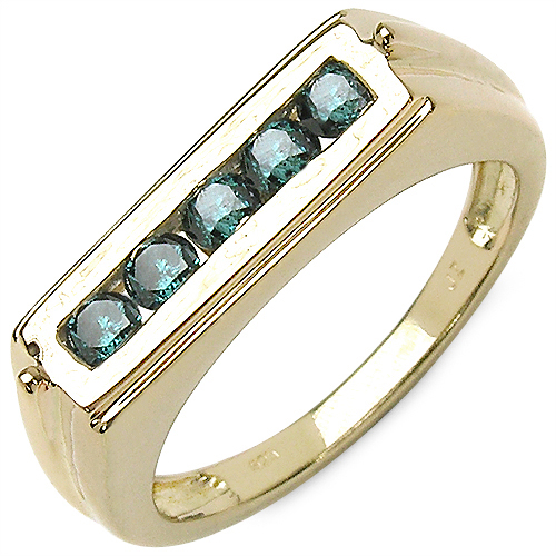 0.50CTW Genuine Blue Diamond .925 Sterling Silver Gold Plated Ring